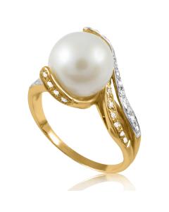 Золотое кольцо с жемчугом «Лавина любви»