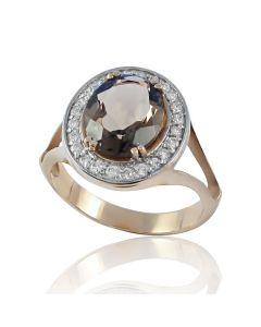 Золотий перстень з великим раухтопазом «Нікозія»
