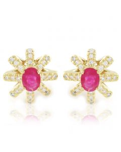 Золотые серьги с рубинами и бриллиантами «Деметра»