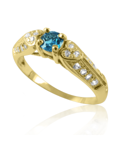 Золотое кольцо с топазом «Белое сердце»