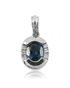 Золотий кулон з сапфіроом та діамантами «Снігова любов»