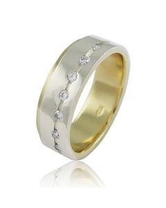 Золота обручка з діамантами «Best»