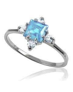 Золота каблучка з квадратным топазом і діамантами «Selena»