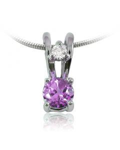 Золота підвіска з аметистом та діамантом «Ягідка»