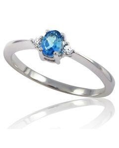 Золоте кільце з топазом та діамантами «Лія»