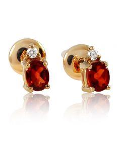 Золотые серьги с гранатом и бриллиантами «Камелия»
