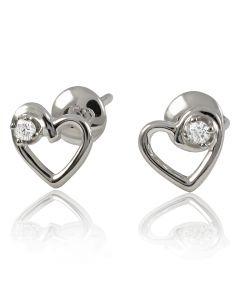 Золоті сережки сердечка з діамантами «Люблю, цілую»