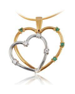 Золотий кулон смарагдами і діамантами «Два серця»