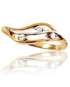 Золотое кольцо «Луар» с тремя бриллиантами
