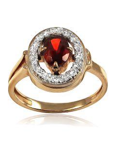 Золоте кільце з гранатом і діамантами «Соковитий гранат»
