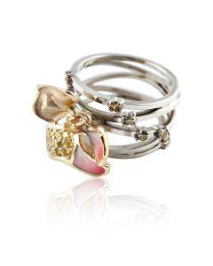 "Золотое кольцо с желтыми бриллиантамим ""Магнолия"""