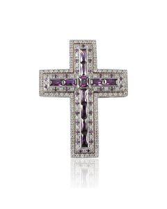Двойной кулон крест с аметистами «Cruz magica»