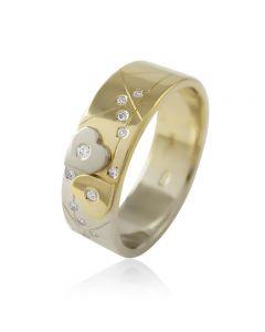 """Золотое обручальное кольцо с цирконами """"Two hearts II"""""""