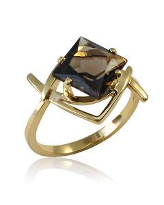 Золотое кольцо с раухтопазом «Дымчатая звезда»