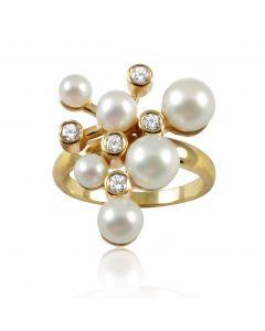 """Золотое кольцо с жемчугом  """"Брызги шампанского"""""""