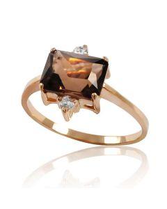 Золотое кольцо с раухтопазом «Morion»