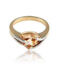"""Золотое кольцо с топазом """"Мадера"""""""