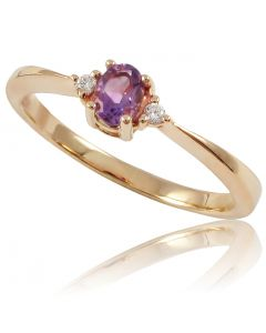 Золота каблучка з аметистом та діамантами «Лія»