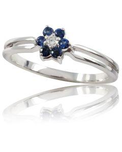 """Золотое кольцо с бриллиантом и сапфиром """"Моника"""""""