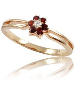 """Золотое кольцо с гранатом """"Аленький цветочек""""."""