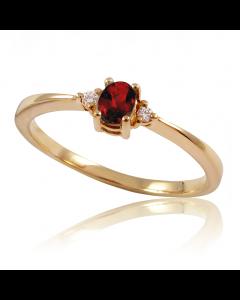 Золотое кольцо с гранатом и бриллиантами «Лия»