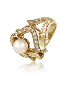 """Золотое кольцо с жемчугом """"Свадебное настроение"""""""