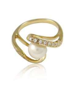 """Золотое кольцо с жемчугом """"Облачко"""""""