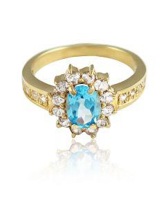 """Золотое кольцо с топазом """"Нежное озеро"""""""