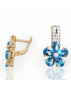 Золотые серьги с топазами и бриллиантами «Любит-не любит»