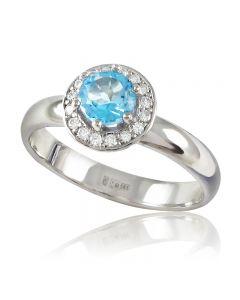 Золоте кільце з топазом і діамантами «Ніжність»