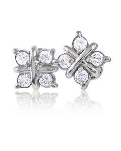 Золотые серьги пусеты с бриллиантами «Зимний  день»