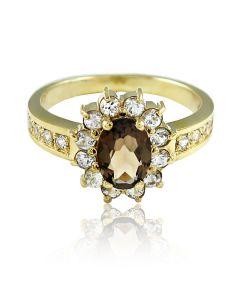 """Золотое кольцо с раухтопазом """"Нежное озеро"""""""