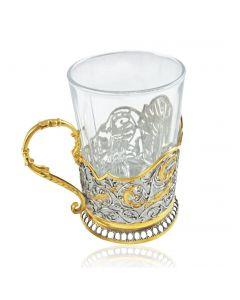 Серебряный подстаканник с позолотой «Сказки Пушкина»