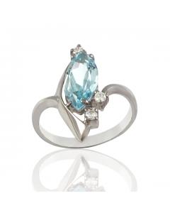 Золотое кольцо с аквамарином «Моя звезда»