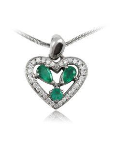 Золотий кулон з діамантами і смарагдами «Смарагдове серце»