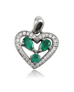 Золотой кулон сердечко «Изумрудное сердце»