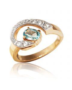 """Золотое кольцо с топазом и цирконами """"Blu nuvole"""""""