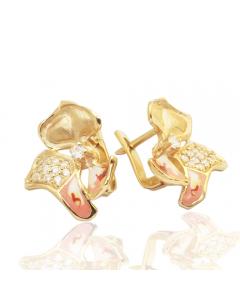 Золотые серьги с бриллиантами и эмалью  «Магнолия»