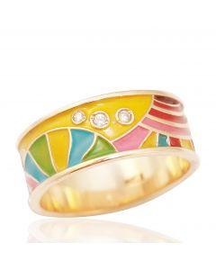 Золотое кольцо с эмалью «Это Лето»