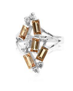 Елітне кольцо з прямокутними цитринами «Полярне сяйво»