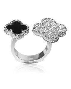 Ексклюзивне золоте кольцо з діамантами і оніксом «Ван Кліф»