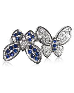 Ексклюзивне колечко з діамантами і сапфірами «Танець метеликів»