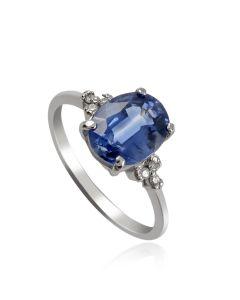 Золотой перстень с кианитом и бриллиантами «Морское око»