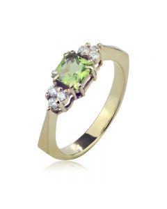 Золотое кольцо с хризолитом «Дороги любви 2»