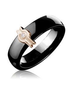 Керамическое кольцо с золотой вставкой и бриллиантом «Мейли»