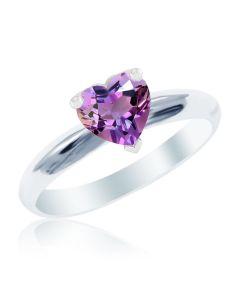 Золотое кольцо-сердце с аметистом «Loving heart»