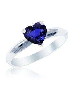 Золоте кольцо-серце з сапфіром «Loving heart»