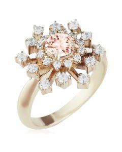 Золоте кольцо з морганітом і сваровскі «Starry sky»