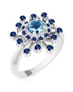 Золоте кольцо з топазом і сапфірами «Starry sky»