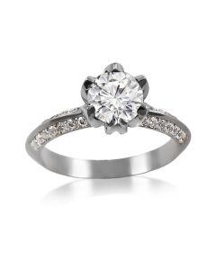 Золотое помолвочное кольцо с крупным камнем «Тюльпан»